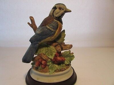 """Vintage Blue Jay Bird On Tree Bisque Finish Stands 7""""  Stands on Wood Base"""