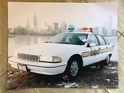 Illinois State Police 11x14 Photo Squad Cop Car License Plate #1 Chicago Skyline