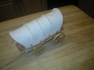 Vintage 1990's Hand Carved Signed Wilmar Ray Young Wooden covered wagon--cool