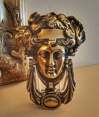 Antique Solid Brass Door Knocker God or Goddess Genuine Vintage Candle Tazza