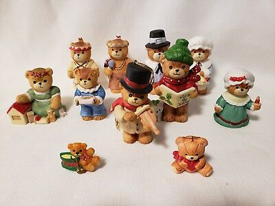 Enesco Lucy & Me Bears Christmas & Thanksgiving Lot Of 11