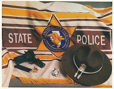 Illinois State Police 8 x 10 Slick 9mm, mag, Hat, 6 point star, flag