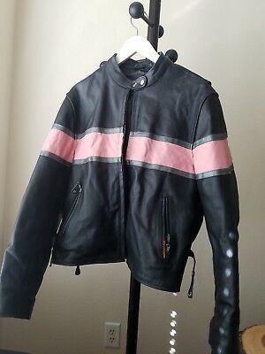 Hot Leathers Women's Black and Pink Leather Motorcycle Jacket Xl