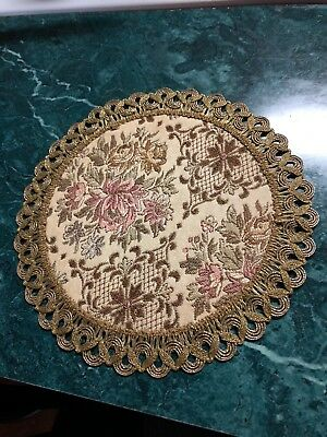 Vintage Gold Tapestry Embroidered Doily Gold Trim Germany 6""