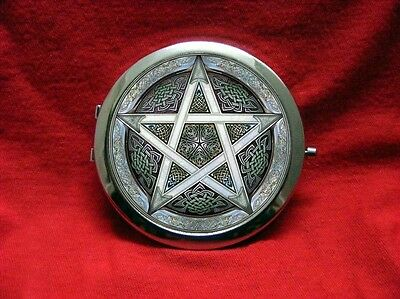 Pentagram Wicca Witch Craft Star Pentacle Celtic Pocket Round Compact Mirror