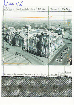 """CHRISTO (1935) """"Wrapped Reichstag Berlin"""" orig. sign. card 10x15 / autograph"""