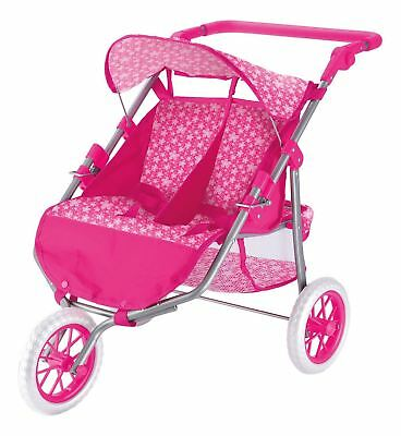 Pouble Dolls Buggy Twin Tandem Stroller Pushchair Dual Reversible Pink