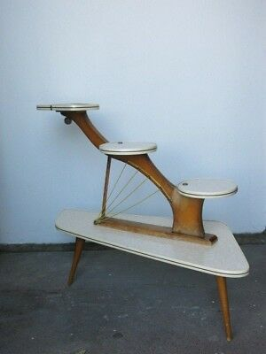 Vintage 50s 60s Mid Century Modernist Patterned Plant Stand