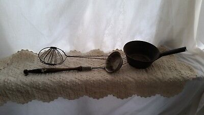 3 Primitive Antique Kitchen Iron Hearth Utensils ~ Strainer Ladle Wire-Strainer