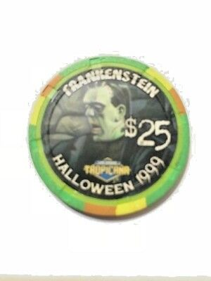 Tropicana $25 Frankenstein 1999 Halloween Casino Chip - 1 of 100 - Free Shipping