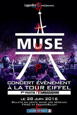 MUSE BAND 12x18 PARIS FRANCE POSTER MATT BELLAMY SIMULATION THEORY DRONES TOUR