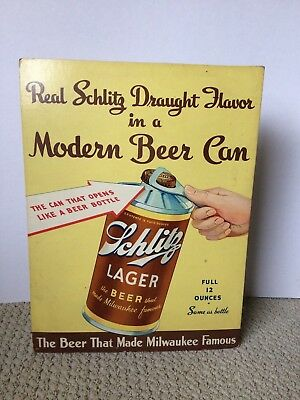 Schlitz Draught Flavor MODERN BEER CAN  cardboard sign