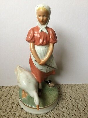 Royal Copenhagen Girl with Goose Porcelain Figurine