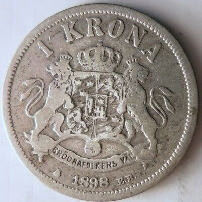 1898 SWEDEN KRONA - Low Mintage Silver Coin - Big Catalog Value - Lot #N9