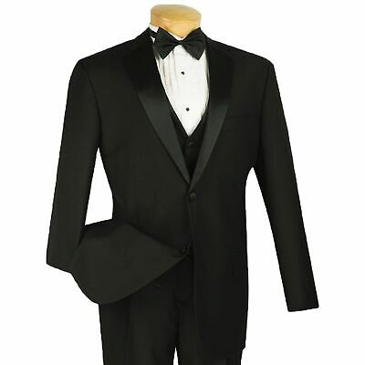 VINCI Men's Black 3pc Formal Tuxedo Suit w/ Sateen Lapel & Trim NEW