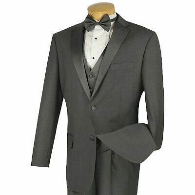 VINCI Men's Gray 3pc Formal Tuxedo Suit w/ Sateen Lapel & Trim NEW