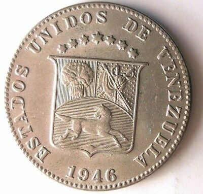 1946 VENEZUELA 12 1/2 CENTIMOS - AU/UNC - VERY Rare Date Coin - Lot #N9