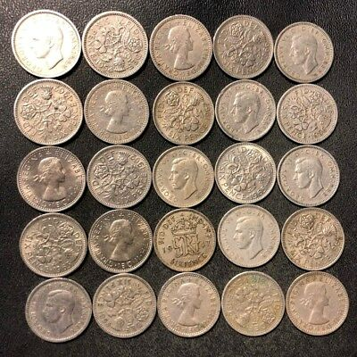 Vintage Great Britain Coin Lot! 25 Excellent 6 Pence Coins - Wedding - Lot #N9