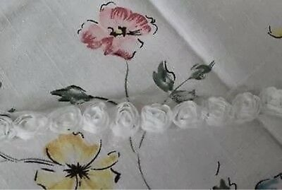 """Rose 3D Lace Trim Floral White Rosette on Mesh 0.6"""" Wide 1 yd -must read detail"""