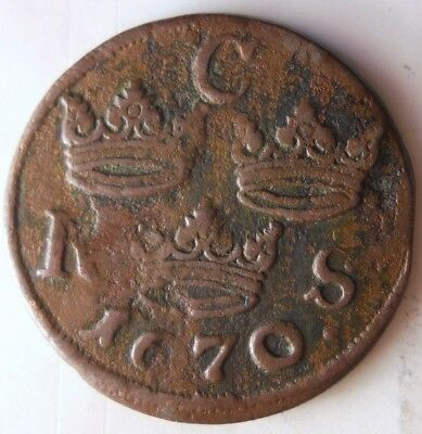 1670 SWEDEN 1/6 ORE - Very Rare Type - High Value Coin - Lot #N9