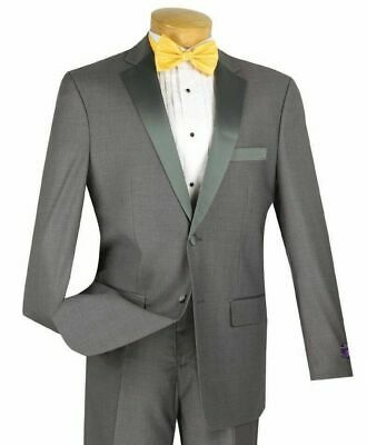 VINCI Men's Gray Slim Fit Formal Tuxedo Suit w/ Sateen Lapel & Trim NEW
