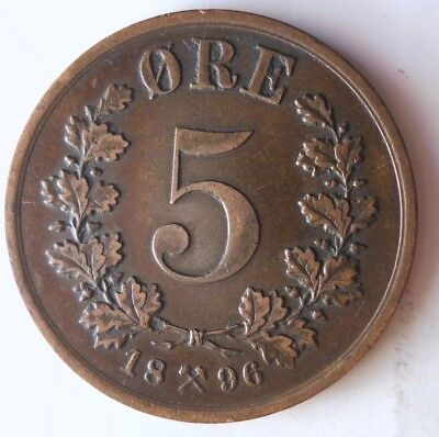 1896 NORWAY 5 ORE - Super Scarce - High Value Coin - High Quality - Lot #N9