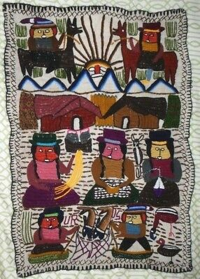 Peruvian Andean Folk Art Tapestry, Hand Woven & Embroidered Lake Titicaca 35x25""