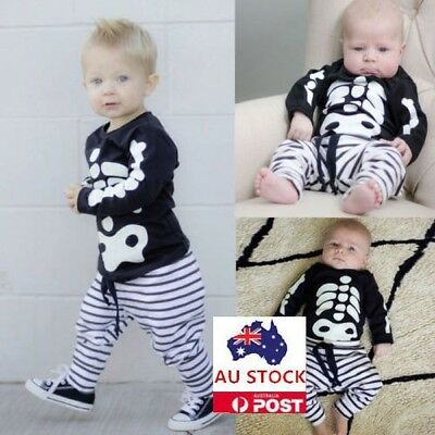 Cool Infant Baby Girls Boys Skull Print Tops Halloween Pant Outfit 0-2Y AU Stock