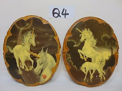 Vintage Lot Of 2 Wall Hanging Pictures-Unicorns 1980's Love Rare Cool