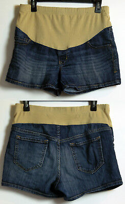 Old Navy Maternity Distressed Blue Stretch Denim Shorts with Belly Panel 6