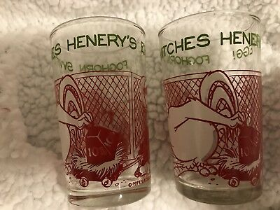 Two (2) Vintage 1974 Warner Bros Foghorn Chicken Switches Henrys Egg Glass