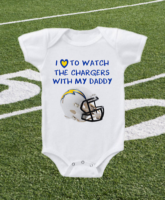 Los Angeles Chargers Onesie Shirt Helmet Design Love To Watch With Daddy