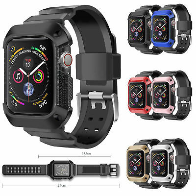 best website 88edb 4a728 FOR APPLE WATCH Series 4 Armor Band Case 40mm 44mm Rugged Protective Strap  Cover