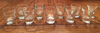 Lot of 10 Assorted Vintage Thick Bottom Heavy Clear Bar Shot Glasses