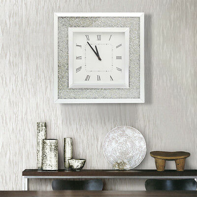 Glitter Mirror Square Wall Clock Hanging Modern Decor Silver Sparkle Hang Glass