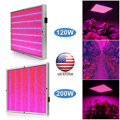 120/200W LED Grow Light Panel Indoor Hydroponic Veg Flowering Plant Growing Lamp