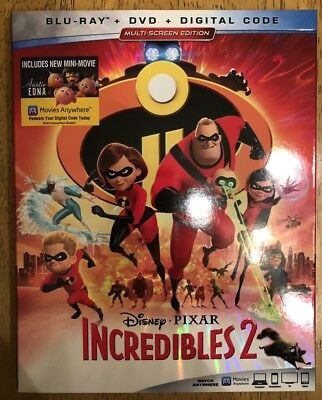 New Incredibles 2 (Blu ray + DVD, 2018) no digital OPENED TO REMOVE CODE