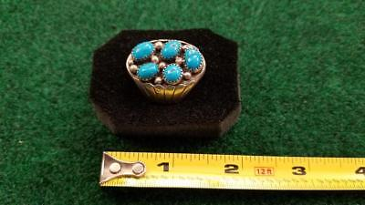 Old Pawn, Men's Ring, Sleeping Beauty Turquoise,Sterling Silver, Sz 11 R Sharkey