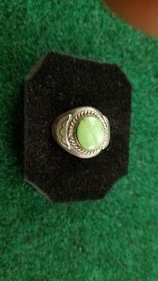 Old Pawn, Men's Ring, Gaspeite,Sterling Silver, Size 9