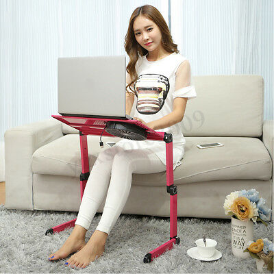 Adjustable Laptop Notebook Stand Desk Table Tray With Cooling Fan & Mouse Pad