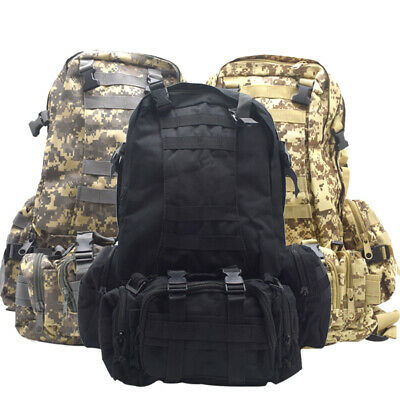 55L Molle Outdoor Sport Military Tactical Bag Camping Practical Backpack Hi E2X7