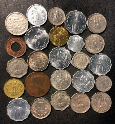 OLD India Coin Lot - 1843-PRESENT - 25 Excellent Coins - Lot #N10