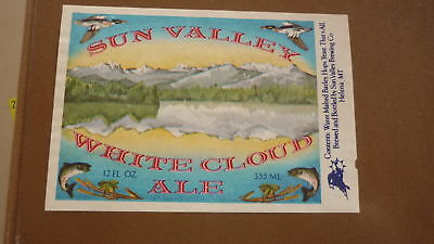 OLD 1970s USA BEER LABEL, SUNVALLEY BREWERY HELENA MONTANA, WHILE CLOUD ALE