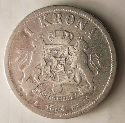 1884 SWEDEN KRONA - Low Mintage Silver Coin - Big Catalog Value - Lot #N10