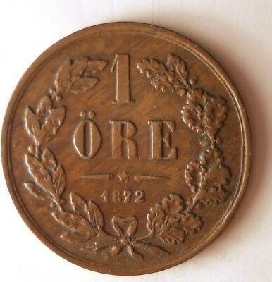 1872 SWEDEN ORE - Very Rare Date - High Grade/Value Coin - Lot #N10