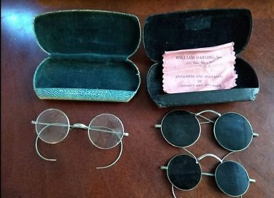Antique Eyeglasses, Lot of 3, with two folding hardcases