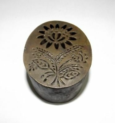 Old Brass Flower Handcrafted Seal Dye Stamp Vintage Jali Cut Flower Design Dye