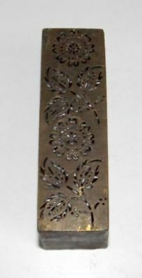 Old Brass Flower Handcrafted Seal Dye Stamp Vintage Jali Cut Rectangle Shape Dye