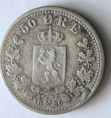 1896 NORWAY 50 ORE - Super Scarce - High Value Silver Coin - High Quality - #N10