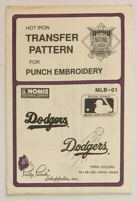 Pretty Punch Hot Iron Transfer MLB-01 Dodgers Nomis Yarn Company New